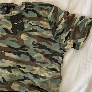Forever 21 Tops - See through camo top